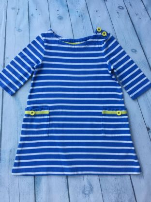Mini Boden blue and white dress with pockets and yellow buttons and detail age 2-3